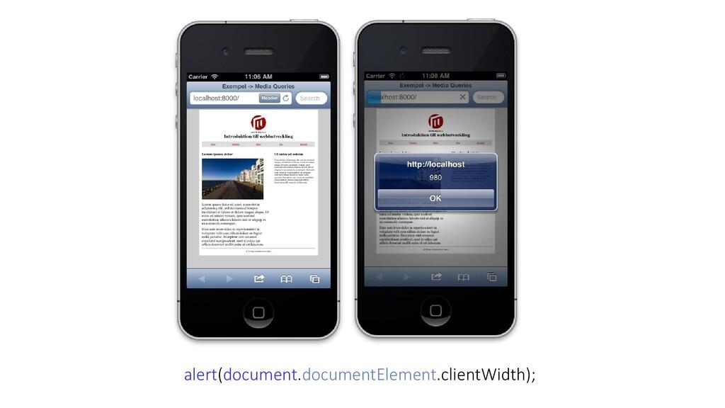 alert(document.documentElement.clientWidth);