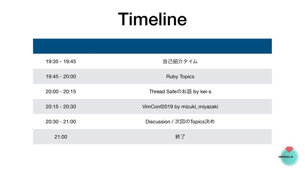 Timeline 19:35 - 19:45 ࣗݾհλΠϜ 19:45 - 20:00 Ru...
