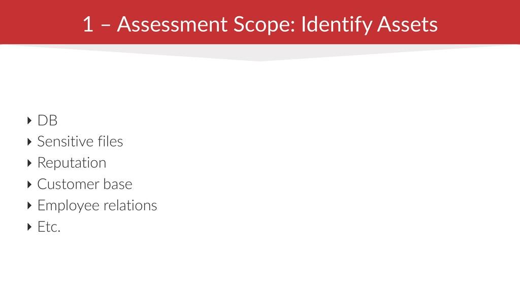 1 – Assessment Scope: Identify Assets ‣ DB ‣ Se...