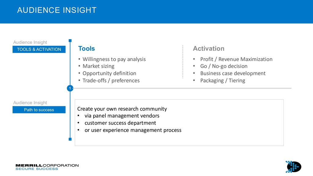 Tools • Willingness to pay analysis • Market si...
