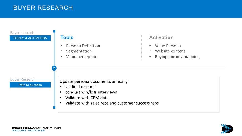 Tools • Persona Definition • Segmentation • Val...