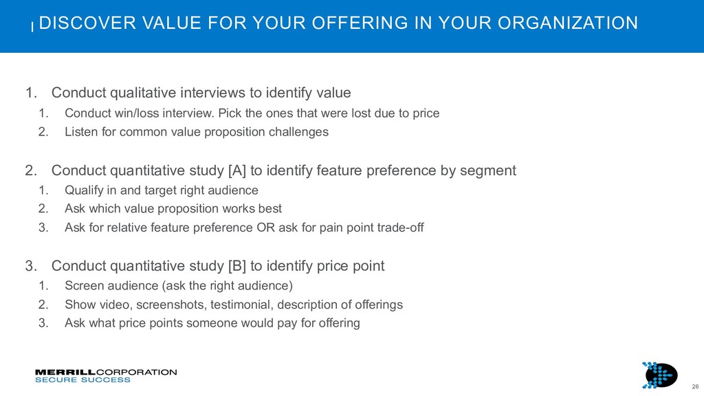 26 DISCOVER VALUE FOR YOUR OFFERING IN YOUR ORG...