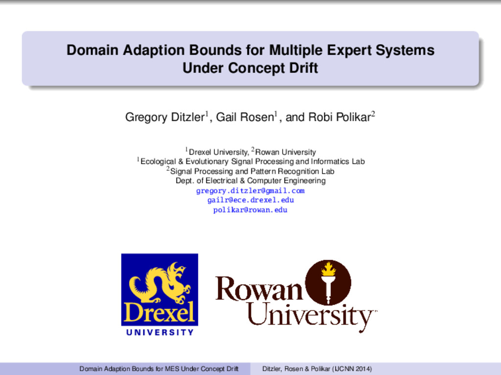 Domain Adaption Bounds for Multiple Expert Syst...