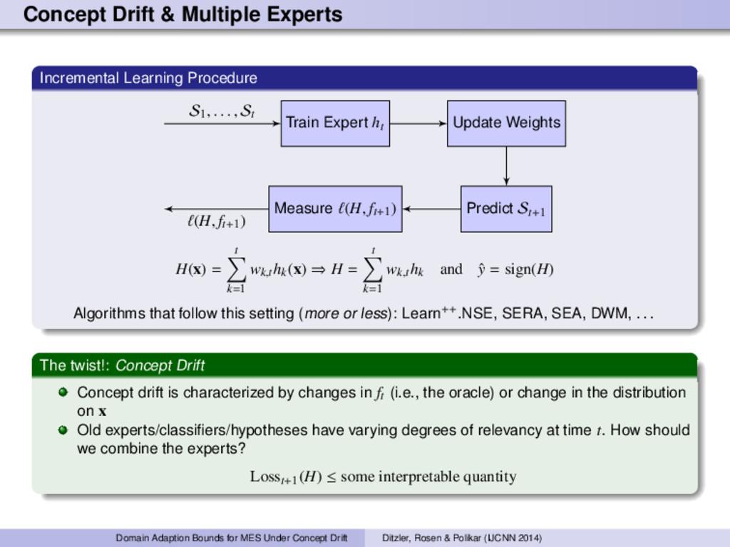 Concept Drift & Multiple Experts Incremental Le...