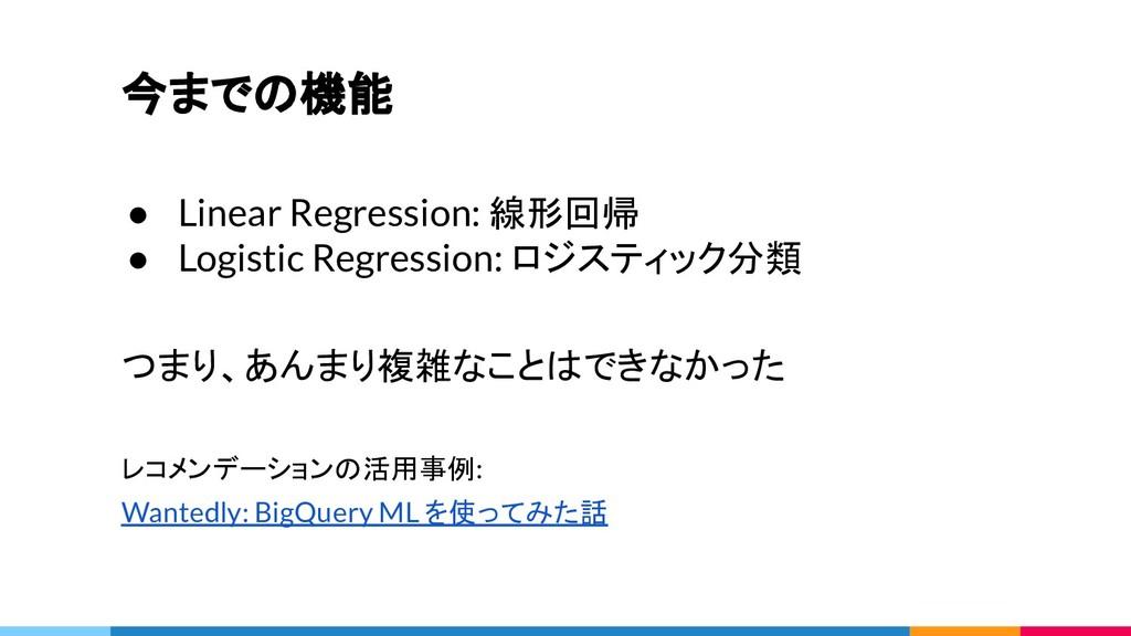 今までの機能 ● Linear Regression: 線形回帰 ● Logistic Reg...