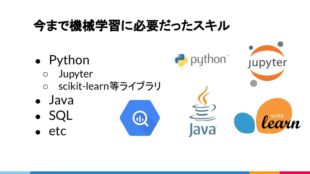 今まで機械学習に必要だったスキル ● Python ○ Jupyter ○ scikit-le...