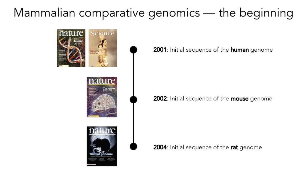 Mammalian comparative genomics — the beginning ...