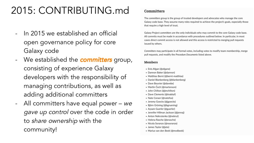 2015: CONTRIBUTING.md - In 2015 we established ...