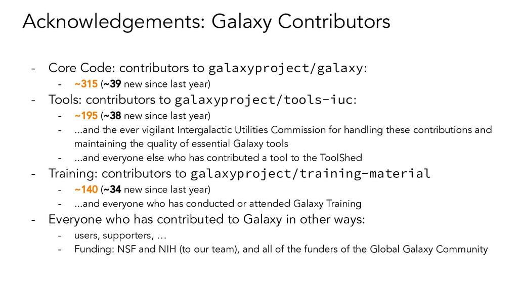 Acknowledgements: Galaxy Contributors - Core Co...