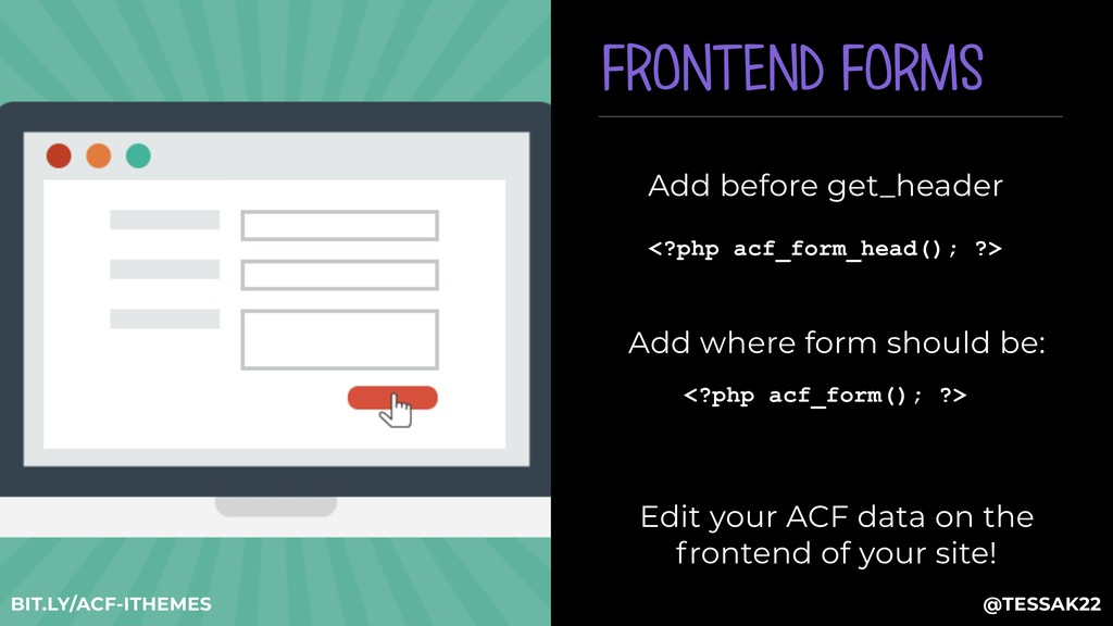 <?php acf_form(); ?> Edit your ACF data on the ...