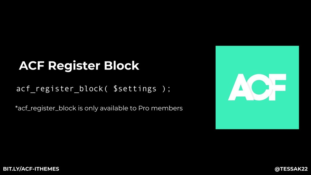 ACF Register Block acf_register_block( $setting...