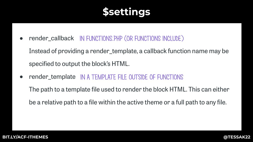 $settings ● render_callback Instead of providi...