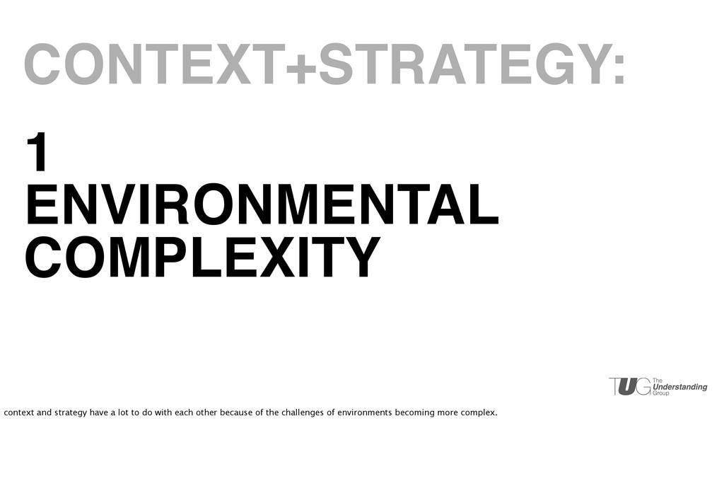 1 ENVIRONMENTAL COMPLEXITY CONTEXT+STRATEGY: co...
