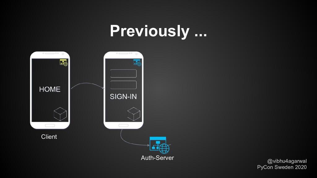 Previously ... Auth-Server @vibhu4agarwal PyCon...