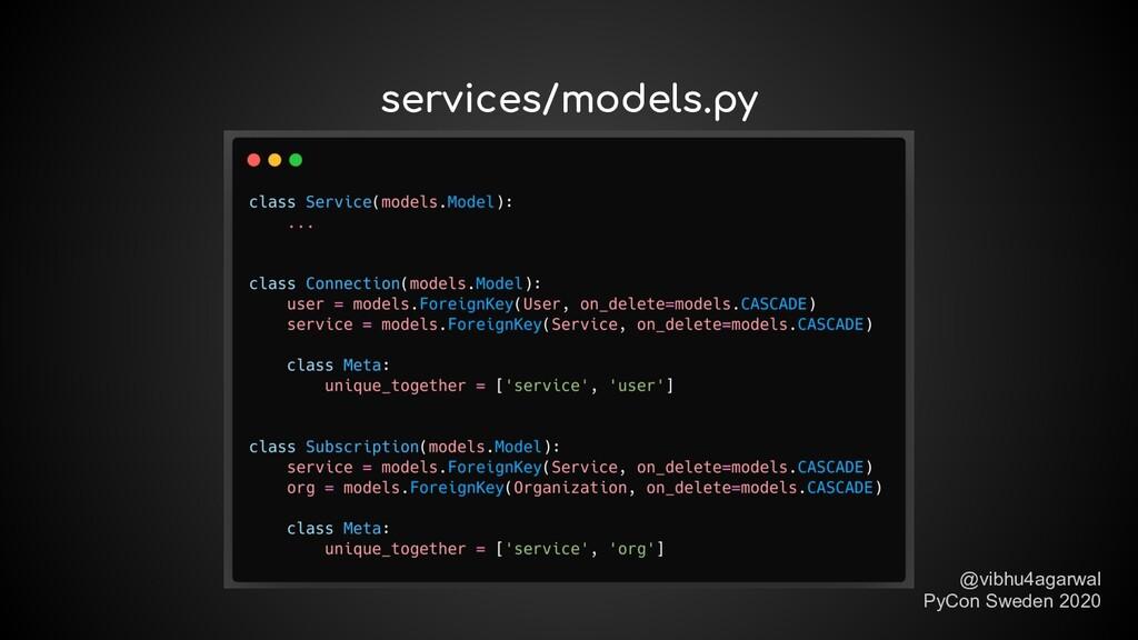 services/models.py @vibhu4agarwal PyCon Sweden ...
