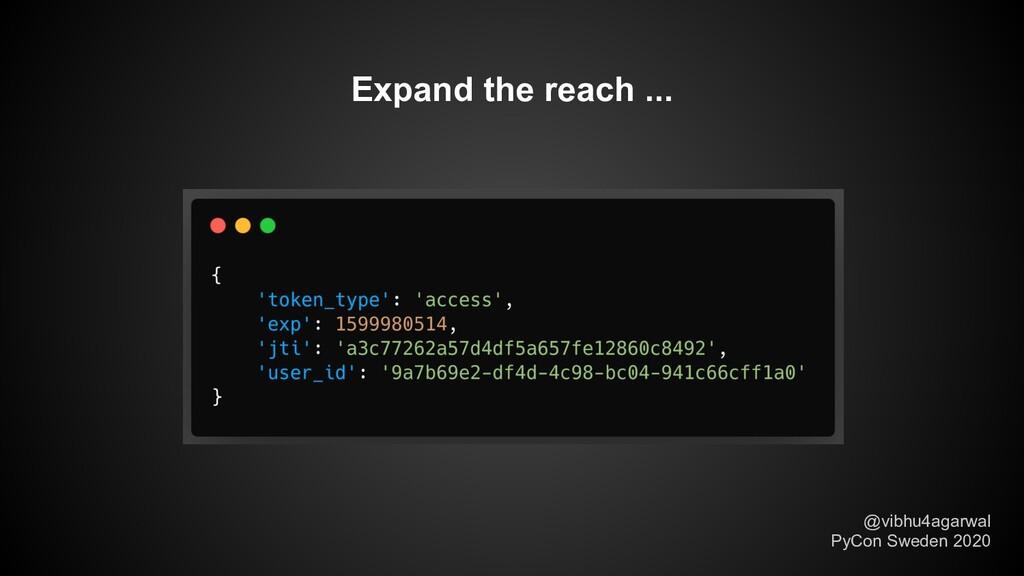 Expand the reach ... @vibhu4agarwal PyCon Swede...