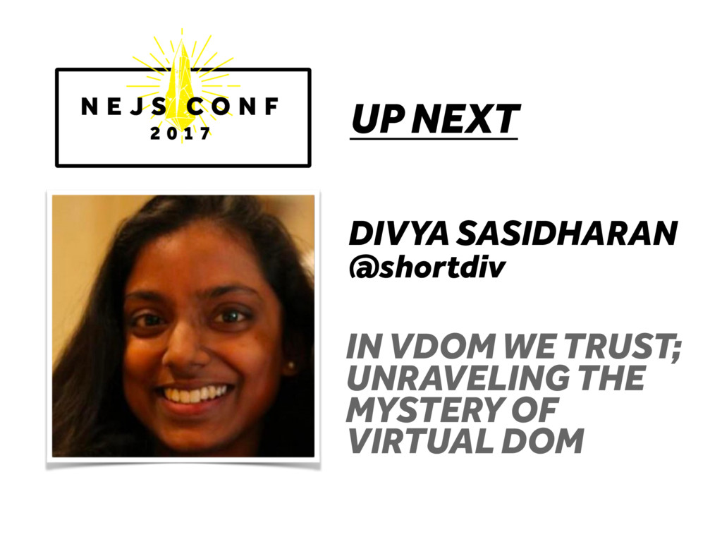 UP NEXT DIVYA SASIDHARAN @shortdiv IN VDOM WE T...