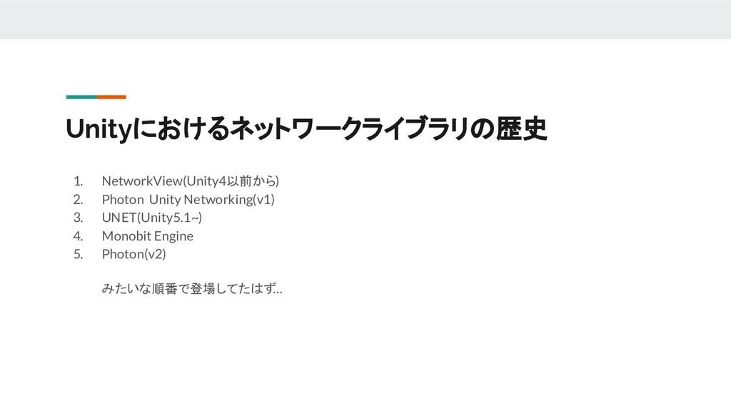 Unityにおけるネットワークライブラリの歴史 1. NetworkView(Unity4以前...