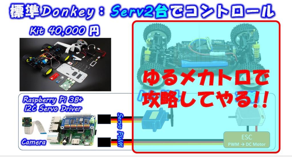 ESC PWM → DC Motor 標準Donkey:Serv2台でコントロール ハンドル ...