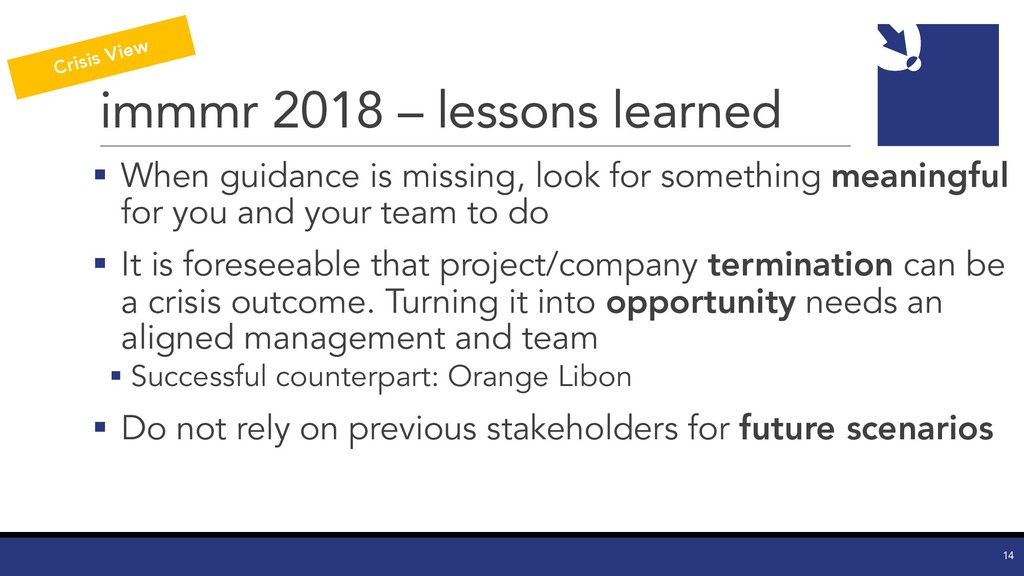 immmr 2018 – lessons learned § When guidance is...
