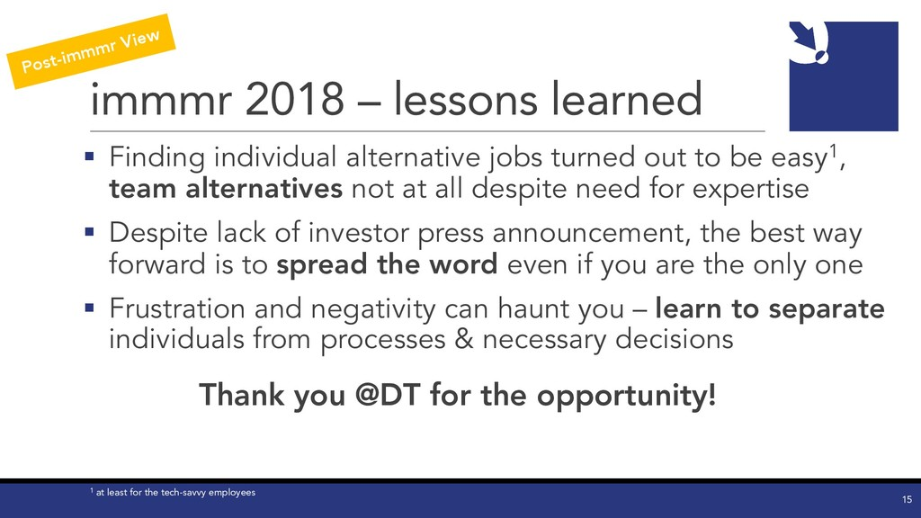 immmr 2018 – lessons learned § Finding individu...