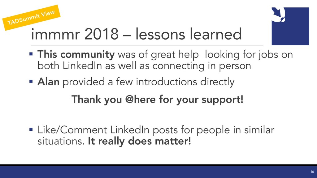 immmr 2018 – lessons learned § This community w...