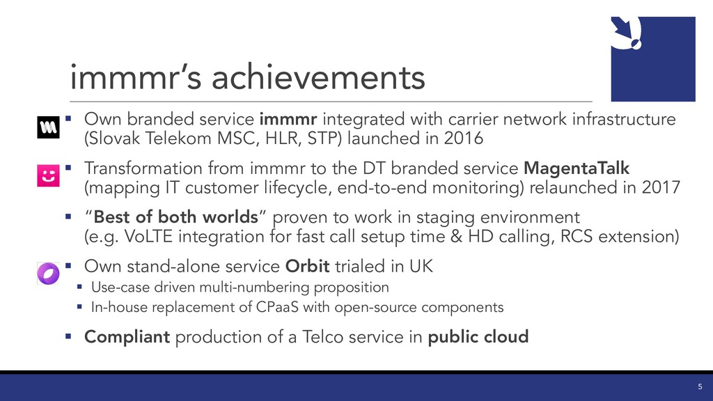 immmr's achievements § Own branded service immm...