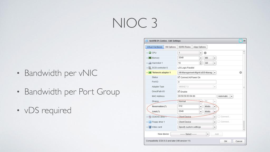 NIOC 3 • Bandwidth per vNIC • Bandwidth per Por...