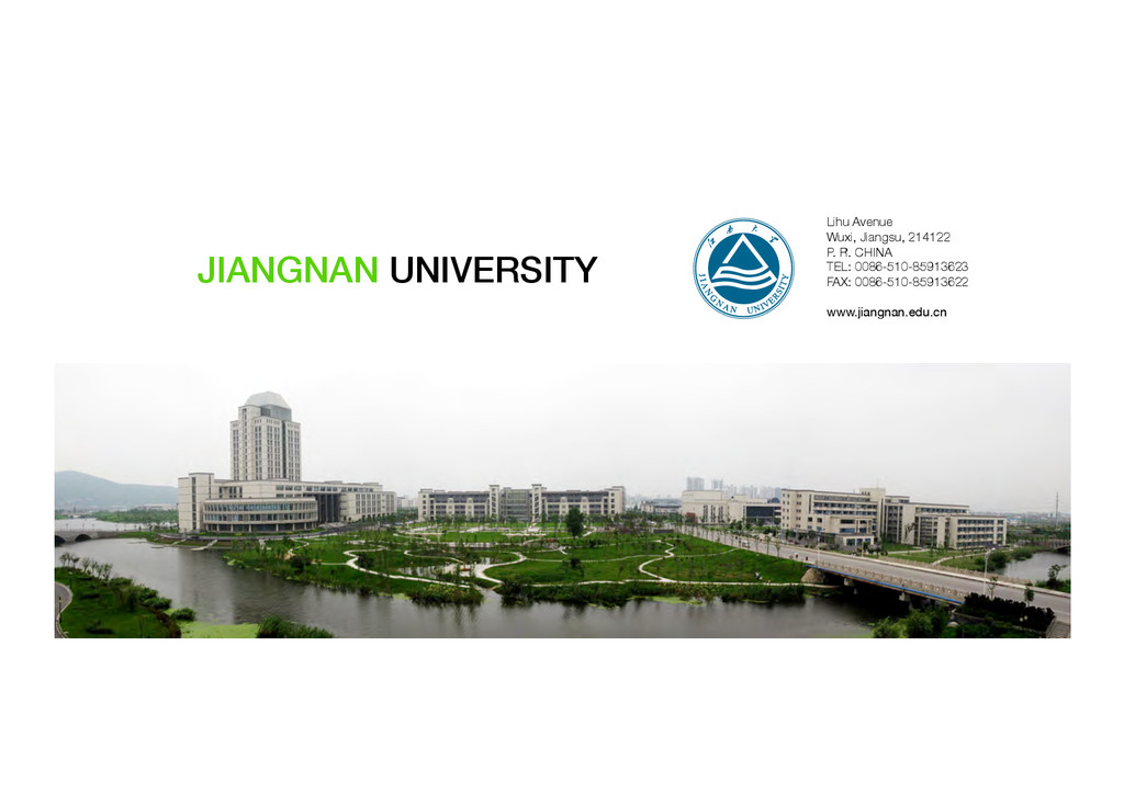 JIANGNAN UNIVERSITY! Lihu Avenue Wuxi, Jiangsu...