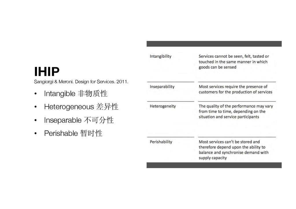 IHIP Sangiorgi & Meroni. Design for Services. ...