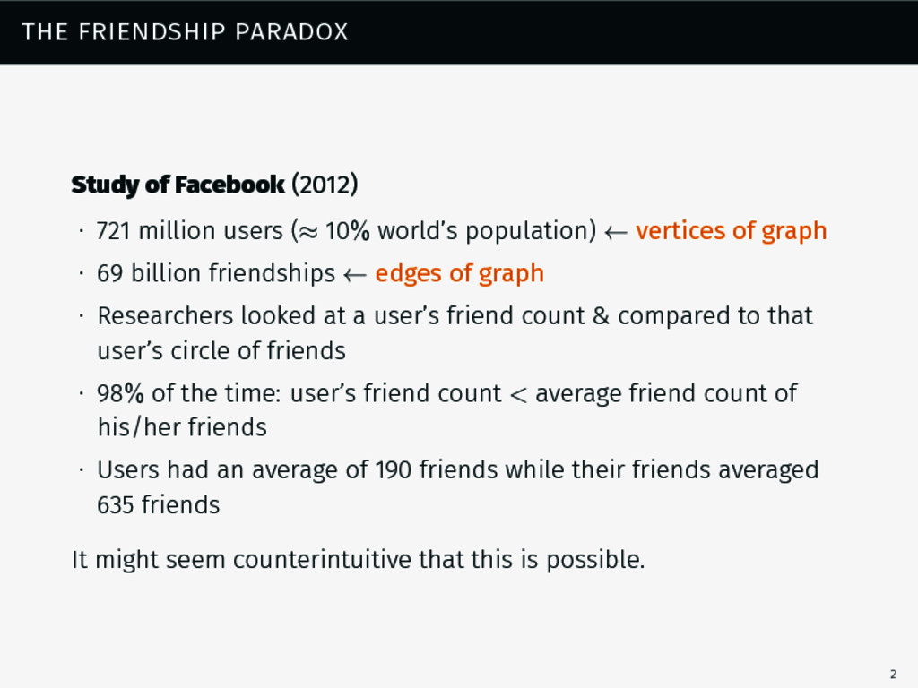 the friendship paradox Study of Facebook (2012)...
