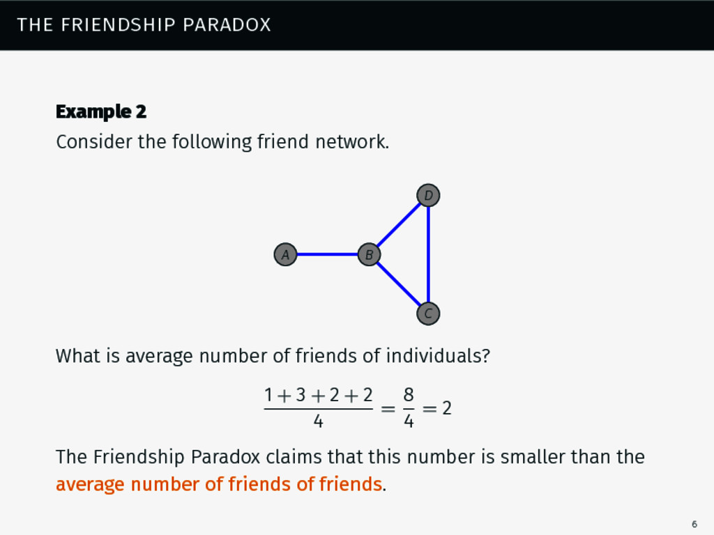 the friendship paradox Example 2 Consider the f...