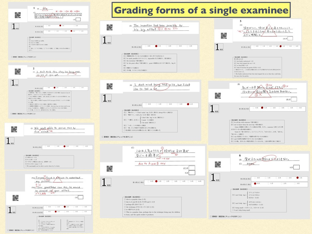 Grading forms of a single examinee