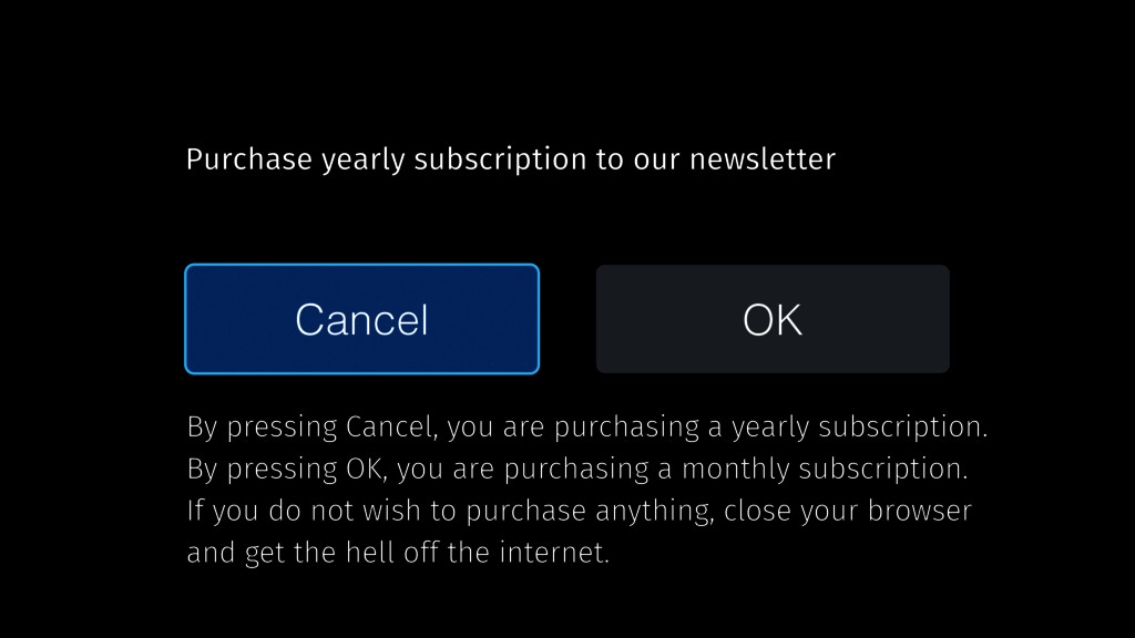 Cancel OK Purchase yearly subscription to our n...