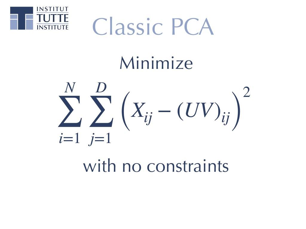 Classic PCA N ∑ i=1 D ∑ j=1 (Xij − (UV)ij) 2 wi...