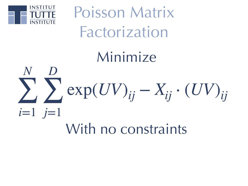 Poisson Matrix Factorization N ∑ i=1 D ∑ j=1 ex...