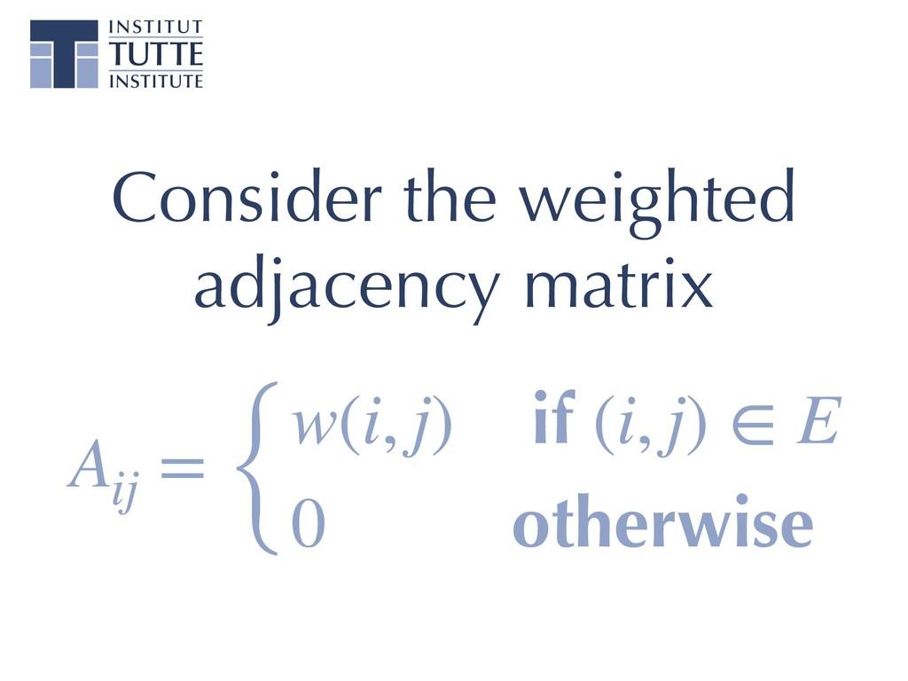 Consider the weighted adjacency matrix Aij = { ...