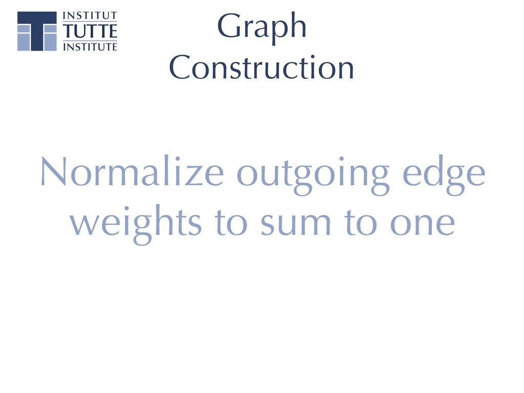 Graph Construction Normalize outgoing edge weig...