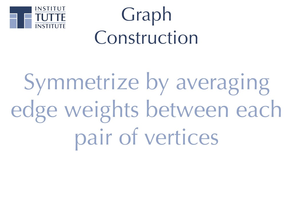 Graph Construction Symmetrize by averaging edge...