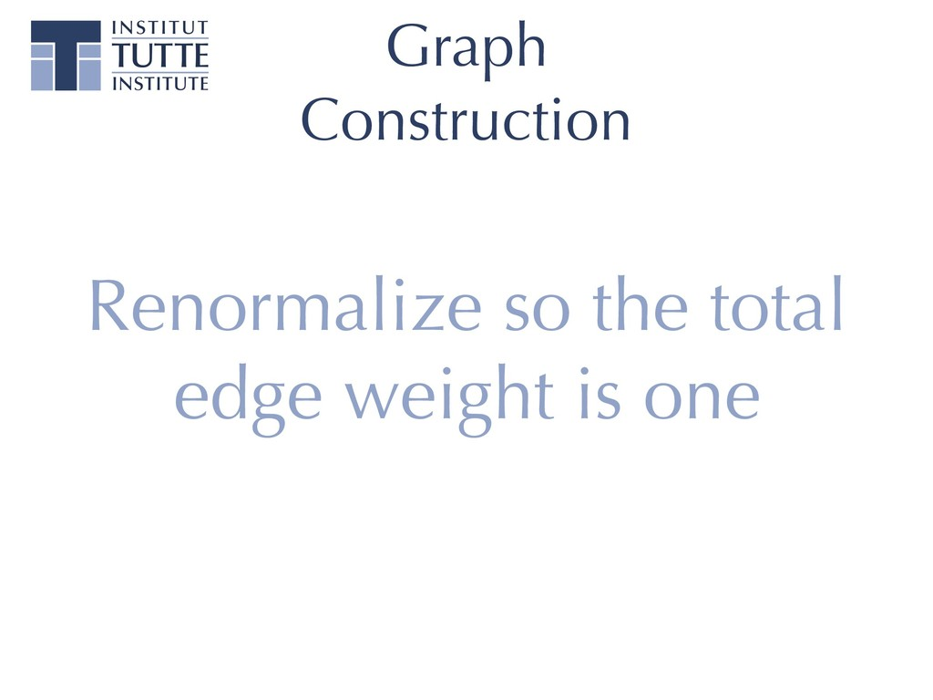 Graph Construction Renormalize so the total edg...