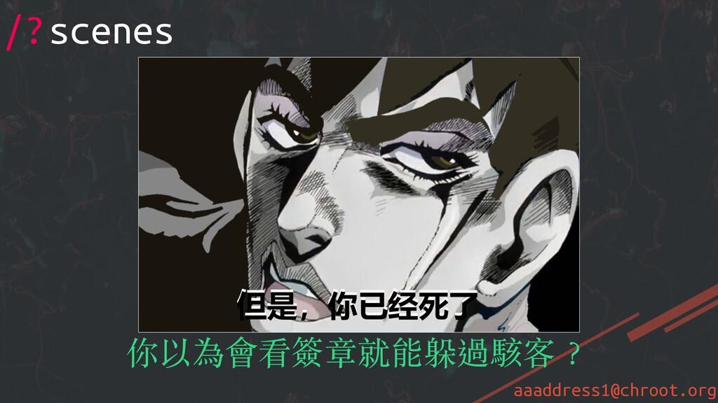 aaaddress1@chroot.org /?scenes 你以為會看簽章就能躲過駭客︖