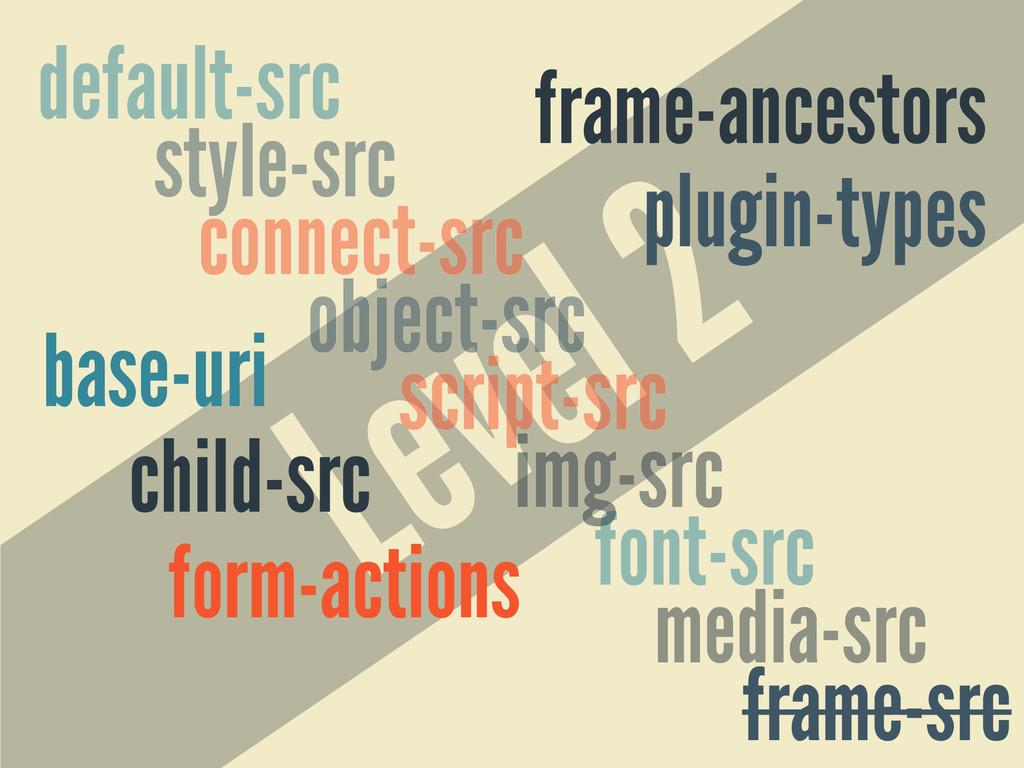 Level 2 style-src default-src media-src script-...