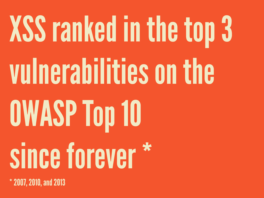 XSS ranked in the top 3 vulnerabilities on the ...