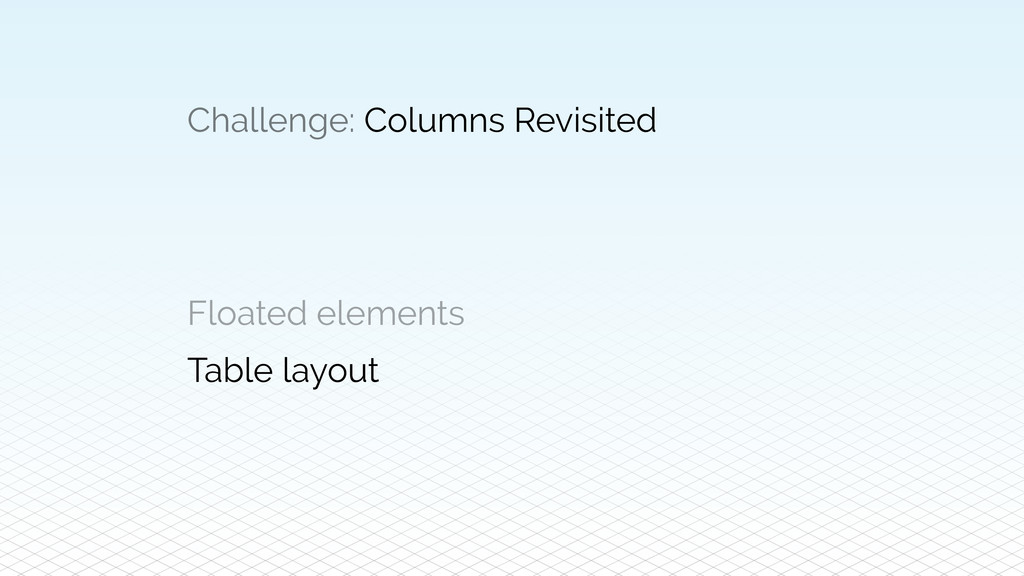 Challenge: Columns Revisited Floated elements T...
