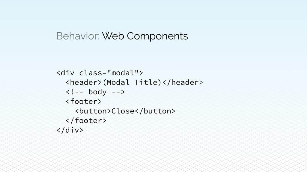 "Behavior: Web Components <div class=""modal""> <h..."