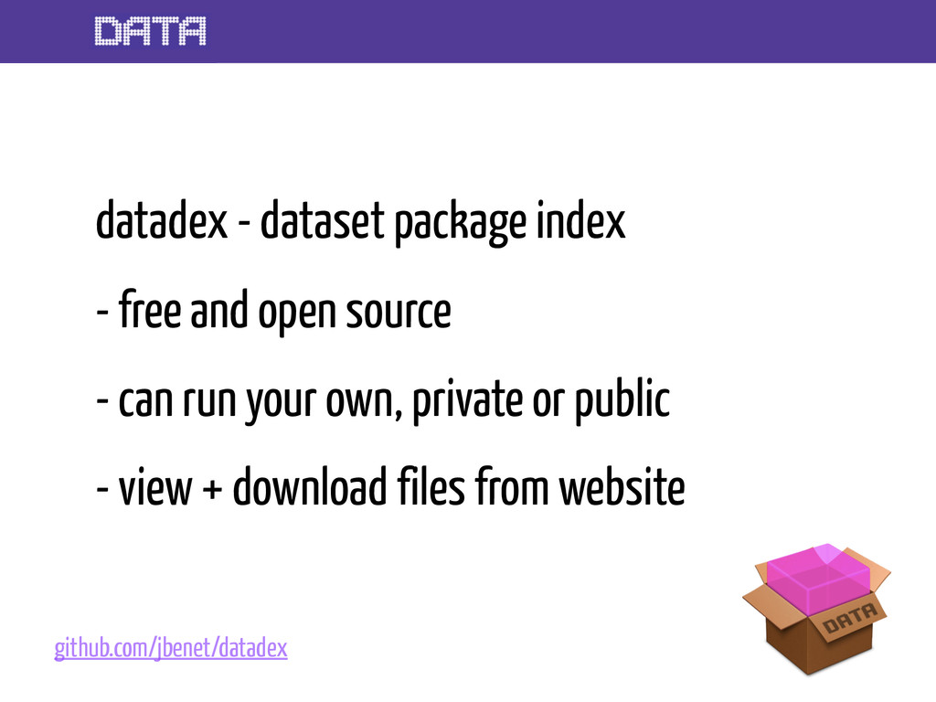 datadex - dataset package index - free and open...