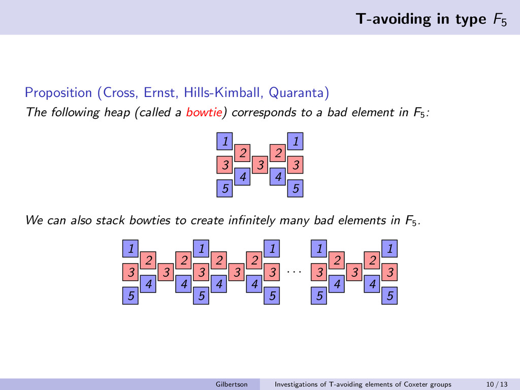 T-avoiding in type F5 Proposition (Cross, Ernst...