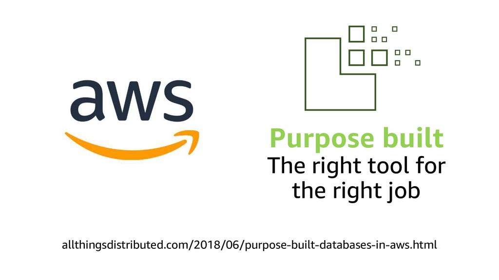 Purpose built The right tool for the right job ...