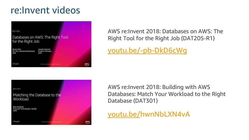 re:Invent videos youtu.be/hwnNbLXN4vA youtu.be/...