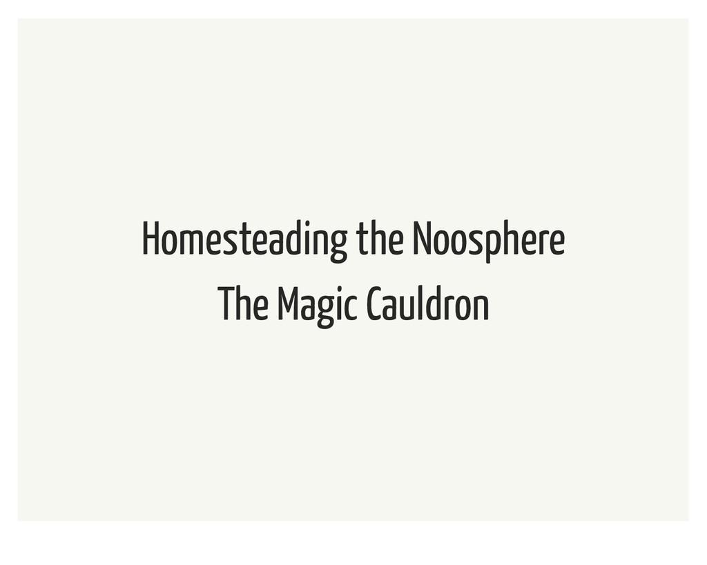 Homesteading the Noosphere The Magic Cauldron